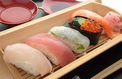 Mixed Sushi Platter with Sake, Japanese Food Stock Photos