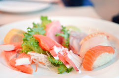 Mixed sushi and sashimi Royalty Free Stock Photos