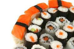 Mixed sushi types on white Stock Image