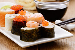 Mixed sushi on a white plate Stock Photography