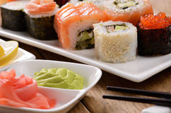 Mixed sushi on a white plate Royalty Free Stock Photo