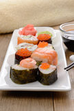 Mixed sushi on a white plate Royalty Free Stock Image