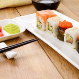 Mixed sushi on a white plate Royalty Free Stock Photography