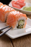 Mixed sushi on a white plate Royalty Free Stock Images