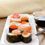 Mixed sushi on a white plate Stock Photos