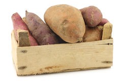 Mixed sweet potatoes in a wooden crate Stock Photography