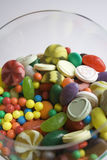 Mixed Sweets. Various colored sweets in a large glass Stock Photos