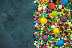 Mixed sweets and junk food border background Royalty Free Stock Image