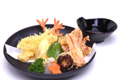 Mixed Tempura prawn squid kani vegetables , isolated on white ba Royalty Free Stock Photo