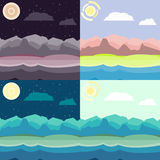 Mixed time landscapes set. Mixed time landscape set. Flat, simple and nice illustration Stock Photography
