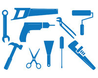 Mixed tool set. Ten vector tool shapes for different trades stock illustration