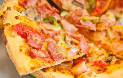 Mixed topping pizza Royalty Free Stock Images