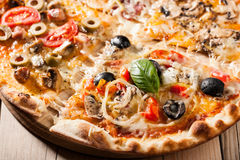 Mixed topping pizza Royalty Free Stock Photo