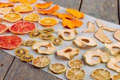 Mixed torkade frukt- och grönsakskivor fotografering för bildbyråer
