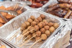 Mixed traditional satay food at Asian market in America. Close-up mixed Satay BBQ at Asian market in Texas, America. It is the Southeast Asian dish of seasoned stock images