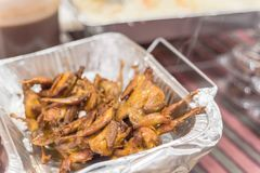 Mixed traditional satay food at Asian market in America. Close-up mixed Satay BBQ at Asian market in Texas, America. It is the Southeast Asian dish of seasoned stock photos