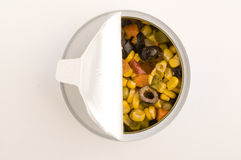 Mixed tuna salad in a can Stock Images