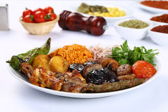 Mixed Turkish kebab stock images