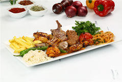 Mixed Turkish Shish kebab on skewers Stock Photo