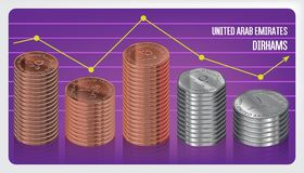 UAE Dirham Coins Stacks Chart Stock Images