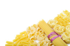 Mixed uncooked raw italian pasta with spaghetti Stock Photo