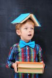 Mixed-up ginger school-boy overloaded with books. Redhead primary-school pupil witn colour books inhalr in anticipation of future hard working, diligent student Royalty Free Stock Images
