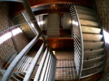 Mixed up staircase. Fish eye view of a staircase with confusing result. Imitating a perception puzzle Royalty Free Stock Image