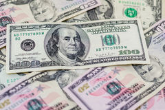 Mixed US dollars, a lot of money background. Finance, business Royalty Free Stock Photos