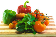 Mixed vegetable. On chop board Royalty Free Stock Photos