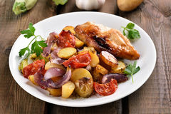Mixed vegetable with chicken breast Stock Images