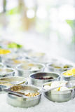 Mixed vegetable ingredients in salad bar display Stock Photography