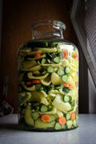 Mixed vegetable in a jar Royalty Free Stock Photos
