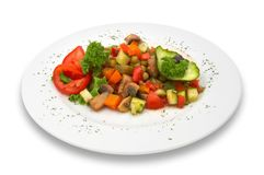 Mixed vegetable/mushroom salad. isolated. Royalty Free Stock Image