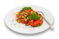 Mixed vegetable/mushroom salad. isolated. royalty free stock images