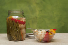Mixed vegetable preserve served Royalty Free Stock Photo