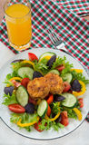 Mixed vegetable salad with cheese toasts Stock Images