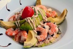 Mixed Vegetable Salad With Cooked Shrimp And Avocado Stock Photos