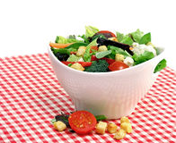 Mixed vegetable salad in a white bowl.  Copy space. Royalty Free Stock Images