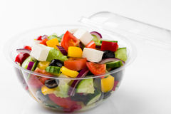 Mixed vegetable salad wit olives and feta cheese Stock Photography