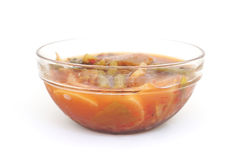 Mixed vegetable in sour soup made of tamarind paste Royalty Free Stock Photography