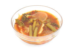 Mixed vegetable in sour soup made of tamarind paste Stock Images