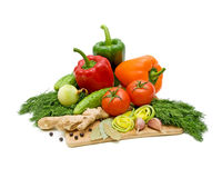 Mixed vegetables. Vegetables. Fresh and ripe vegetables close-up Stock Images