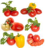 Mixed vegetables. Red tomato and yellow pepper on a white background Stock Images