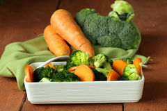 Mixed vegetables with carrots and broccoli Stock Photos
