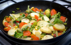 Mixed vegetables cooked Royalty Free Stock Images