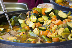 Mixed vegetables cooked in a pan. Vegan diet. Mixed vegetables cooked in a pan. Zucchini, carrots, eggplant and other vegetables just cooked in a pan. Vegan diet Royalty Free Stock Photos