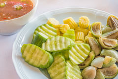Mixed vegetables dish served with shrimp paste chili sauce bowl Stock Image