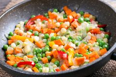 Mixed vegetables in a frying pan on wood table, Royalty Free Stock Photos