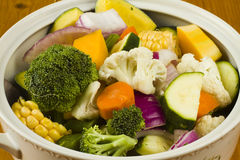 Mixed Vegetables In A White Bowl Royalty Free Stock Image
