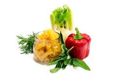Mixed vegetables and italian pasta Royalty Free Stock Photo